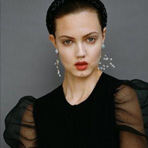 Statement earings Zara Golden pearl earrings